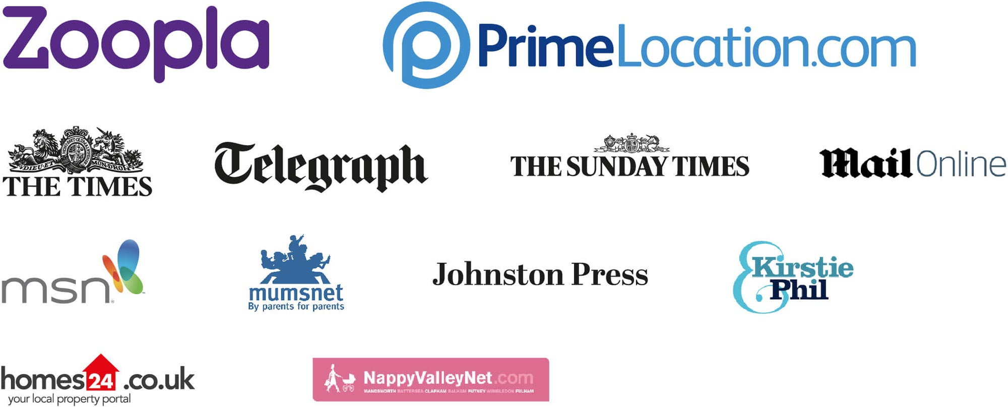 Telegraph, the Times and the Sunday Times, plus MSN, Mumsnet, Homes 24.co.uk, Kirstie and Phil websites